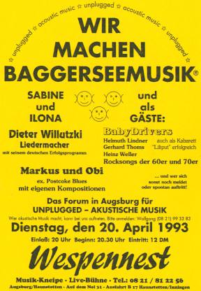 Wir machen Baggerseemusik - The platform for acoustic music - unplugged at Augsburg 1990 till 1994